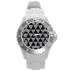Triangle3 Black Marble & Gray Colored Pencil Round Plastic Sport Watch (l)
