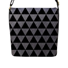 Triangle3 Black Marble & Gray Colored Pencil Flap Messenger Bag (l)