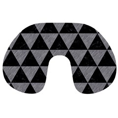 Triangle3 Black Marble & Gray Colored Pencil Travel Neck Pillows