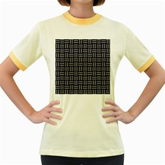 Woven1 Black Marble & Gray Colored Pencil Women s Fitted Ringer T Shirts