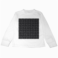 Woven1 Black Marble & Gray Colored Pencil Kids Long Sleeve T Shirts