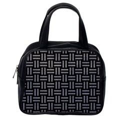 Woven1 Black Marble & Gray Colored Pencil Classic Handbags (one Side)