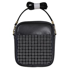 Woven1 Black Marble & Gray Colored Pencil Girls Sling Bags