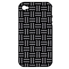 Woven1 Black Marble & Gray Colored Pencil Apple Iphone 4/4s Hardshell Case (pc+silicone)