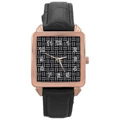 Woven1 Black Marble & Gray Colored Pencil Rose Gold Leather Watch