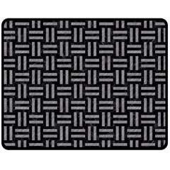 Woven1 Black Marble & Gray Colored Pencil Double Sided Fleece Blanket (medium)