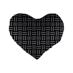 Woven1 Black Marble & Gray Colored Pencil Standard 16  Premium Flano Heart Shape Cushions