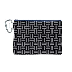 Woven1 Black Marble & Gray Colored Pencil Canvas Cosmetic Bag (m)