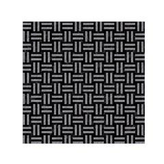 Woven1 Black Marble & Gray Colored Pencil Small Satin Scarf (square)