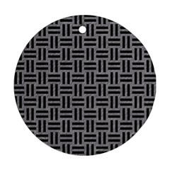 Woven1 Black Marble & Gray Colored Pencil (r) Ornament (round)