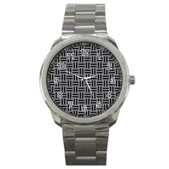 Woven1 Black Marble & Gray Colored Pencil (r) Sport Metal Watch