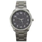 WOVEN1 BLACK MARBLE & GRAY COLORED PENCIL (R) Sport Metal Watch Front