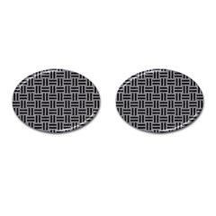 Woven1 Black Marble & Gray Colored Pencil (r) Cufflinks (oval)