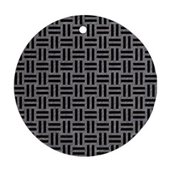 Woven1 Black Marble & Gray Colored Pencil (r) Round Ornament (two Sides)