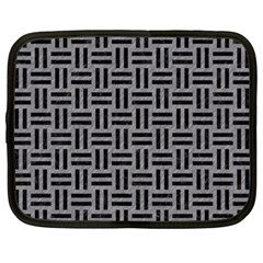 Woven1 Black Marble & Gray Colored Pencil (r) Netbook Case (large)