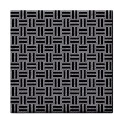 Woven1 Black Marble & Gray Colored Pencil (r) Face Towel