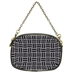 Woven1 Black Marble & Gray Colored Pencil (r) Chain Purses (one Side)