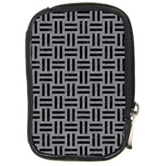 Woven1 Black Marble & Gray Colored Pencil (r) Compact Camera Cases