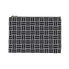 Woven1 Black Marble & Gray Colored Pencil (r) Cosmetic Bag (large)