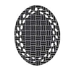 Woven1 Black Marble & Gray Colored Pencil (r) Oval Filigree Ornament (two Sides)