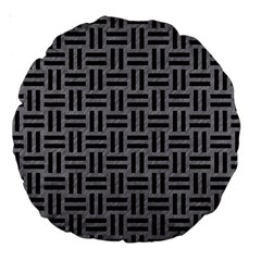 Woven1 Black Marble & Gray Colored Pencil (r) Large 18  Premium Round Cushions