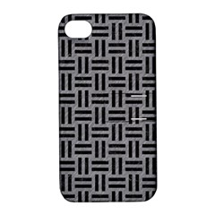 Woven1 Black Marble & Gray Colored Pencil (r) Apple Iphone 4/4s Hardshell Case With Stand