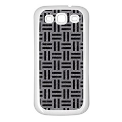 Woven1 Black Marble & Gray Colored Pencil (r) Samsung Galaxy S3 Back Case (white)
