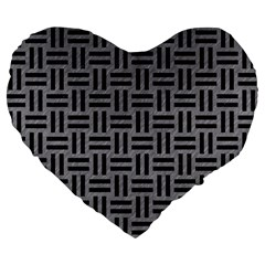 Woven1 Black Marble & Gray Colored Pencil (r) Large 19  Premium Flano Heart Shape Cushions