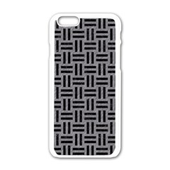 Woven1 Black Marble & Gray Colored Pencil (r) Apple Iphone 6/6s White Enamel Case