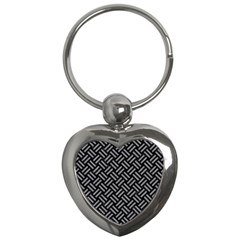 Woven2 Black Marble & Gray Colored Pencil Key Chains (heart)