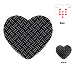 Woven2 Black Marble & Gray Colored Pencil Playing Cards (heart)
