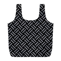 Woven2 Black Marble & Gray Colored Pencil Full Print Recycle Bags (l)