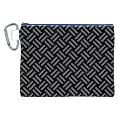 Woven2 Black Marble & Gray Colored Pencil Canvas Cosmetic Bag (xxl)