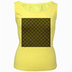 Woven2 Black Marble & Gray Colored Pencil (r) Women s Yellow Tank Top