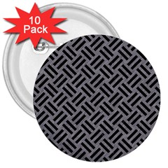 Woven2 Black Marble & Gray Colored Pencil (r) 3  Buttons (10 Pack)