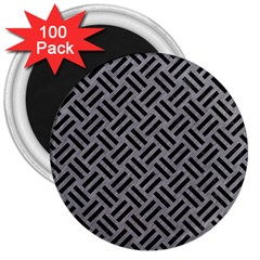 Woven2 Black Marble & Gray Colored Pencil (r) 3  Magnets (100 Pack)