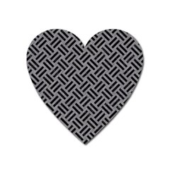 Woven2 Black Marble & Gray Colored Pencil (r) Heart Magnet