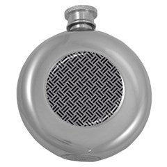 Woven2 Black Marble & Gray Colored Pencil (r) Round Hip Flask (5 Oz)