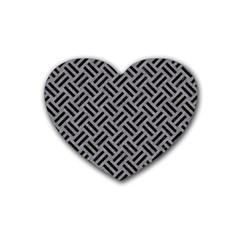 Woven2 Black Marble & Gray Colored Pencil (r) Heart Coaster (4 Pack)