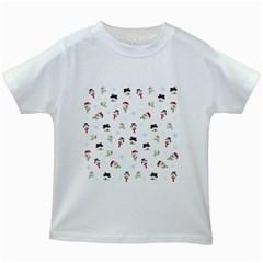 Snowman Pattern Kids White T Shirts