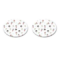Snowman Pattern Cufflinks (oval)