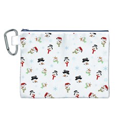 Snowman Pattern Canvas Cosmetic Bag (l)