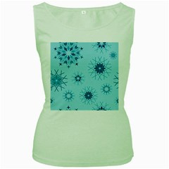 Blue Winter Snowflakes Star Women s Green Tank Top