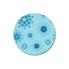 Blue Winter Snowflakes Star Magnet 3  (round)