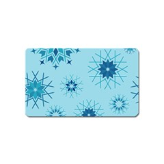 Blue Winter Snowflakes Star Magnet (name Card)