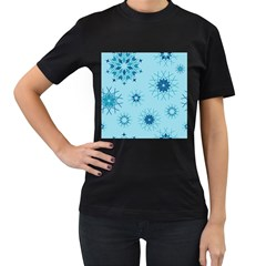 Blue Winter Snowflakes Star Women s T Shirt (black) (two Sided)