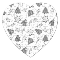 Ginger Cookies Christmas Pattern Jigsaw Puzzle (heart)