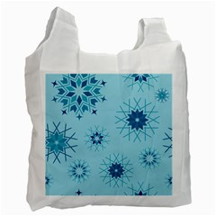 Blue Winter Snowflakes Star Recycle Bag (two Side)