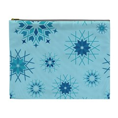 Blue Winter Snowflakes Star Cosmetic Bag (xl)