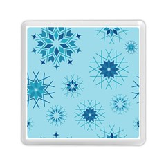 Blue Winter Snowflakes Star Memory Card Reader (square)